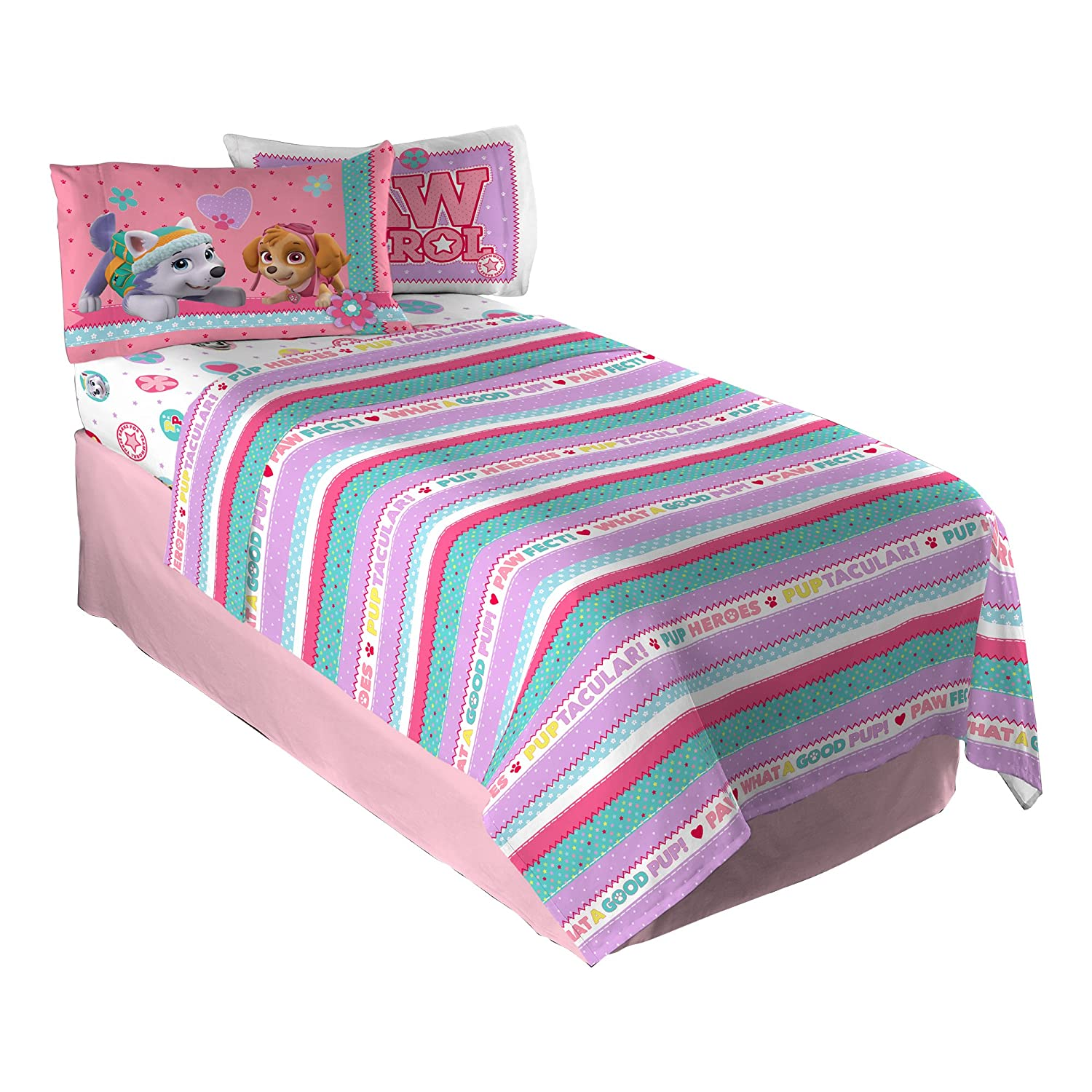 Paw Patrol Girls Twin Sheet Set Kids Bedding Soft 3 Piece