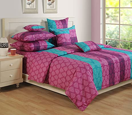 Swayam Purple Colour Fitted Double Bed Sheet With Pillow Covers GS BED 1301