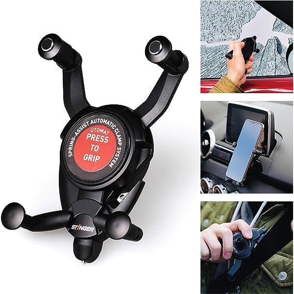 Seat Belt Cutter Black Ztylus Stinger 3 in 1 Magnetic Phone Holder Cradle for Car Dashboard//Air Vent Mount Spring Loaded Window Breaker Vehicle Emergency Escape Tool