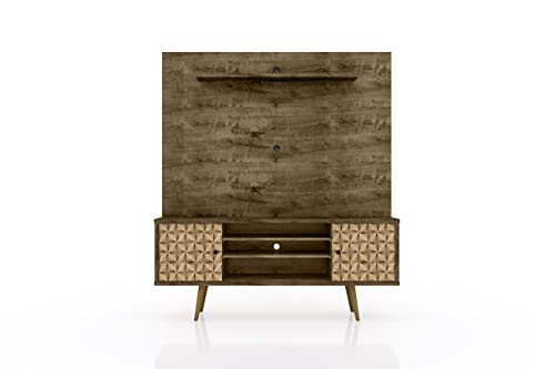 Manhattan Comfort Liberty Complete Living Room Entertainment Center and TV Stand, Brown 3D Brown
