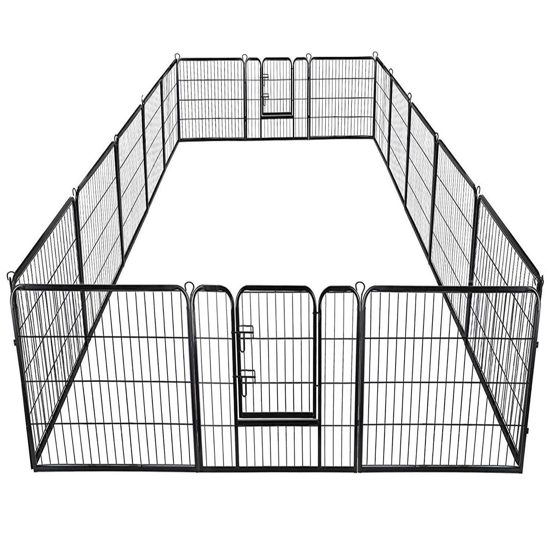 Giantex 40'' 16 Panel Pet Playpen with Door, Foldable Dog Exercise Pen, 13ft x 8ft Configurable Freestanding Cat Duck Chicken Rabbit Fence, Outdoor & Outdoor, Metal Pet Exercise Fence Barrier Kennel by Giantex