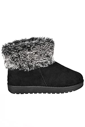 1b09ca88d09d Yours Clothing Wide Fit Women s Faux Fur Trim Ankle Boots in True Eee Fit  Size 4EEE