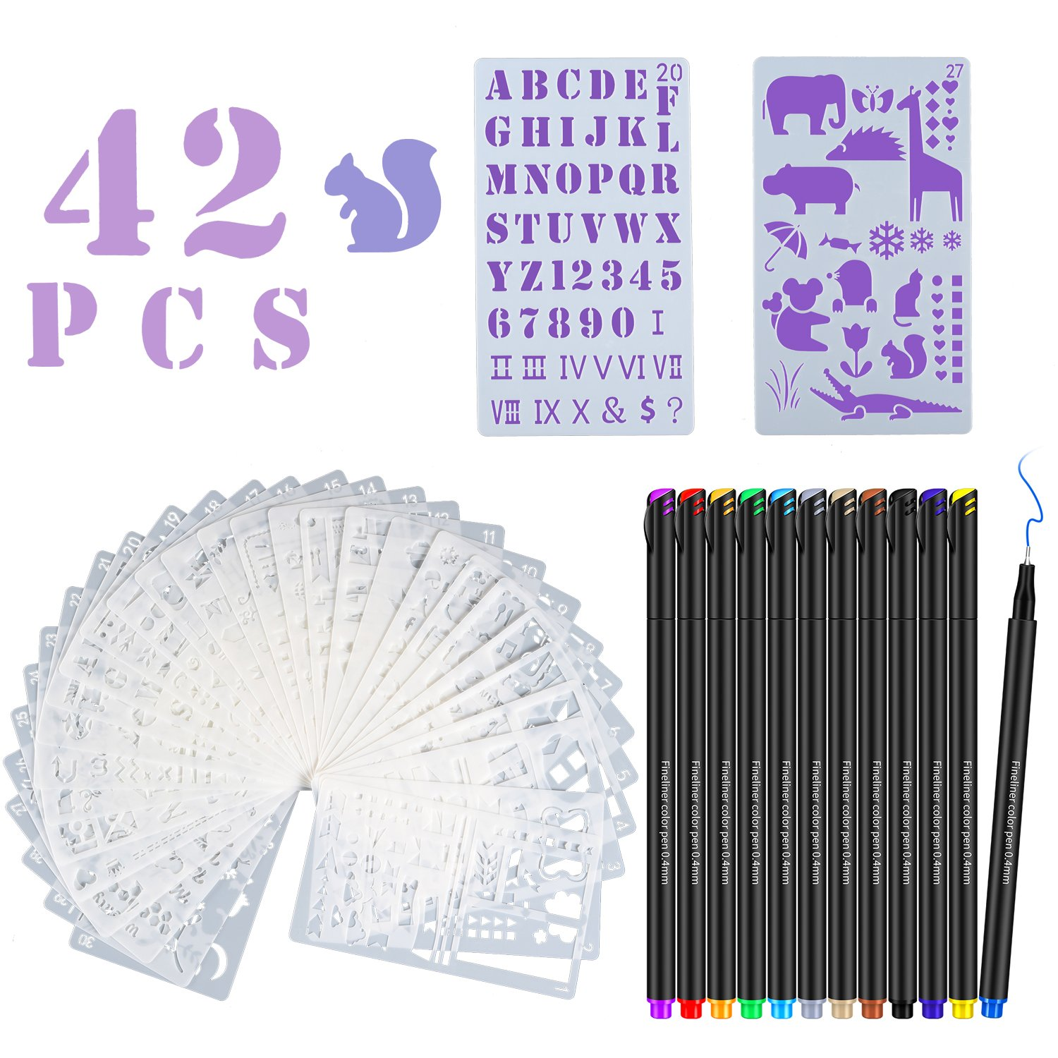 TEOYALL 30 PCS Bullet Journal Planner Stencils Drawing Templates Set + 12 Color Fineliner Pens Scrapbook Supplies