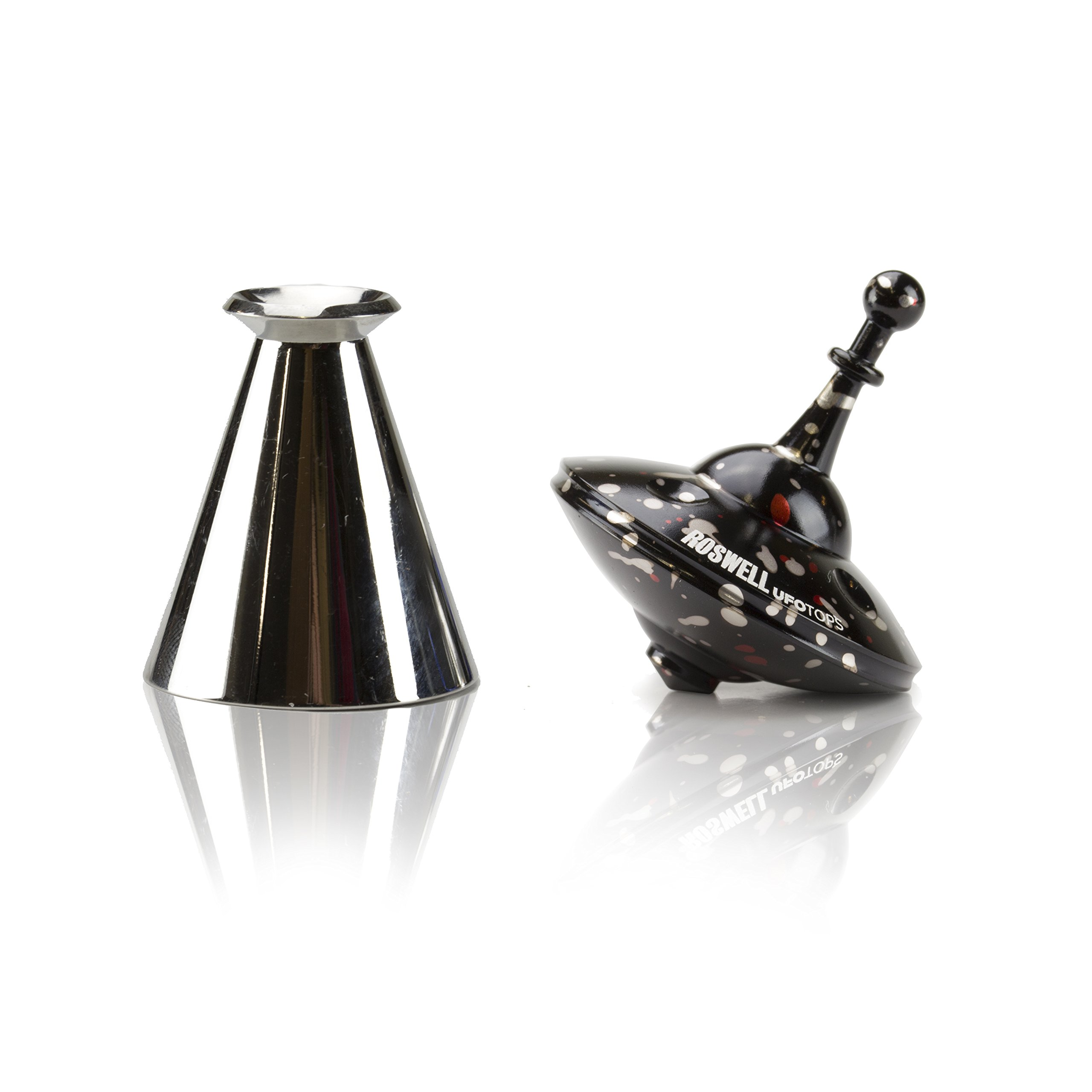 UFO Tops - Metal Spinning Top, Roswell Tarantula Edition with LightRay Base