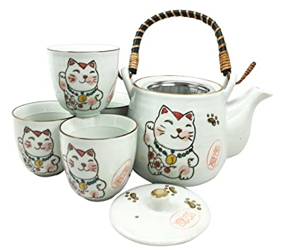 Japanese Design Maneki Neko Lucky Cat White Ceramic Tea Pot and Cups Set