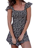 Eloise Isabel Fashion mulheres moda voltar lace up manga curta summmer flare dress plus size s