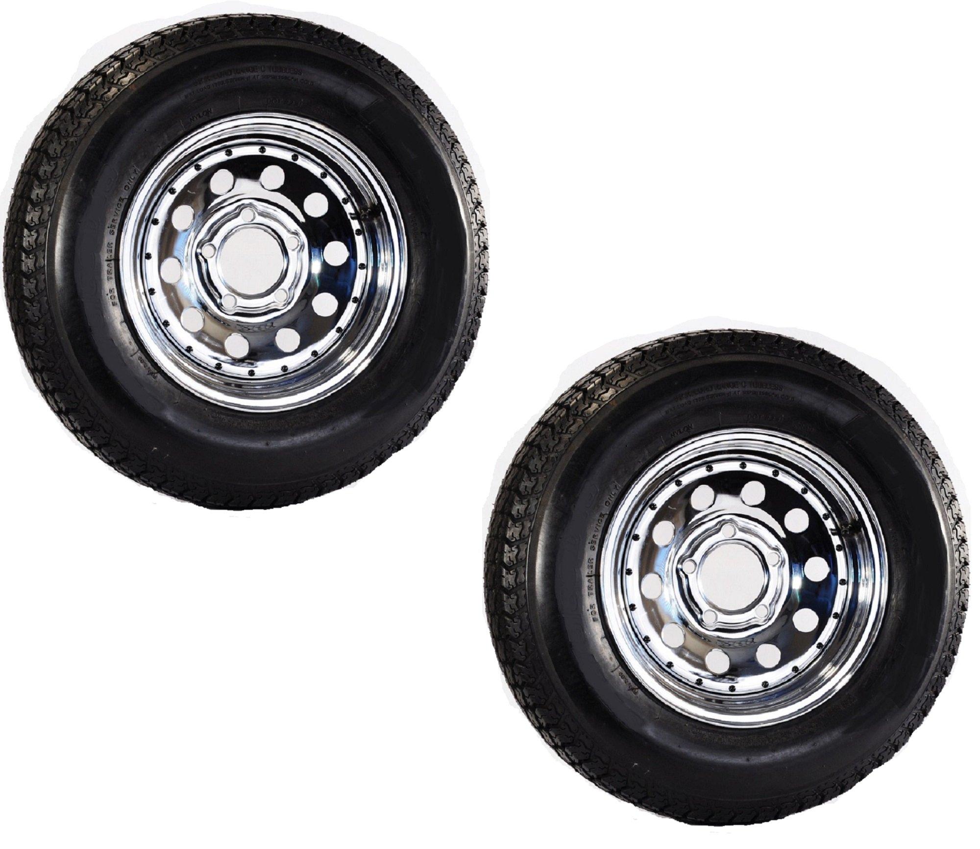 Two Trailer Tires Rims ST205/75D14 2057514 F78-14 14'' 5 Lug Chrome Mod W/Rivets