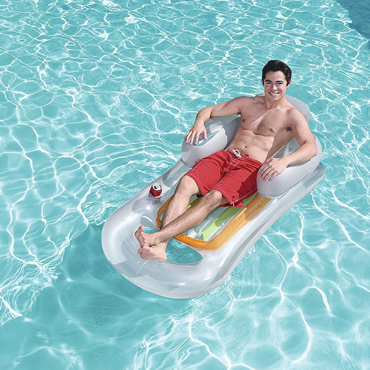 Asiento Hinchable Gris para Piscina y Playa Sillon con Soporte para Bebida Asiento para Piscina 161 x 84cm Dabuty Online S.L