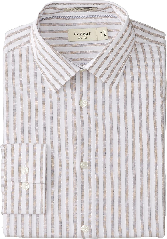 Haggar Hombre Bold elástico mecánico de rayas manga larga camisa: Amazon.es: Ropa y accesorios