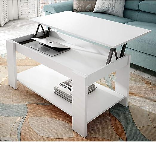 Muebles Baratos Mesa de Centro Elevable, con revistero, Color Blanco, ref-96: Amazon.es: Hogar