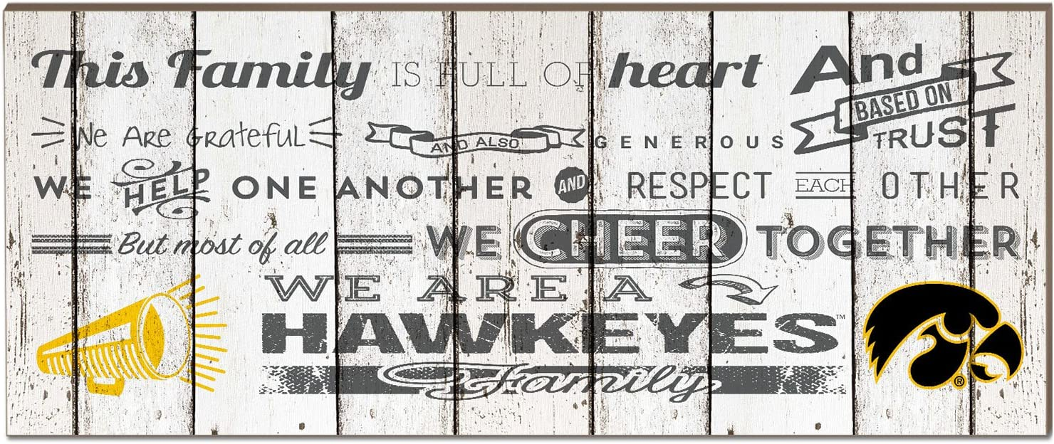 """KH Sports Fan 18""""x7"""" Iowa Hawkeyes Family Cheer Small Weathered Collage Plaque"""