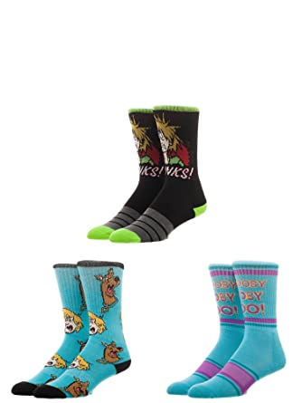 53fac6a1fed Amazon.com  Bioworld Scooby Doo Shaggy Athletic Crew Socks (Pack of ...