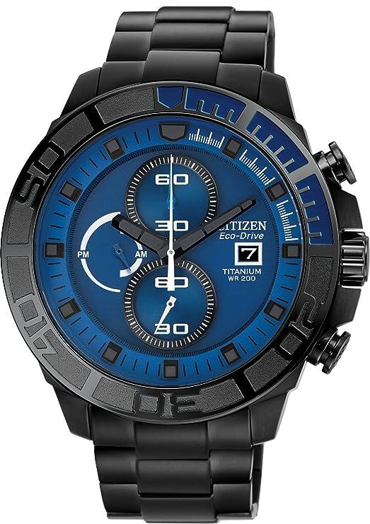 7af276a91 Amazon.com: Citizen #CA0525-50L Men's Eco Drive Black IP Titanium Blue Dial  200M Chronograph Watch: Watches