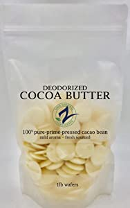 RAW Cocoa Butter-Deodorized_Food Grade   100% Pure-Prime-Pressed   DIY Lotions, Stretch Marks, Lips. (16 Ounce Deodorized Wafers)