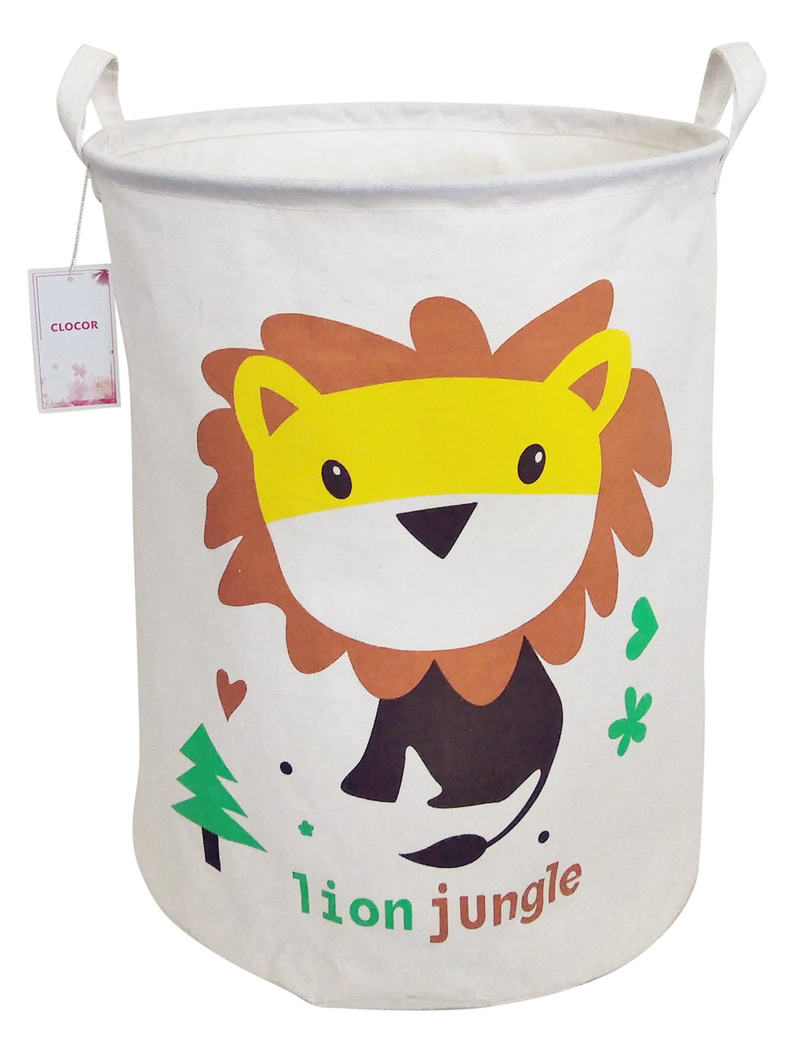 CLOCOR Large Storage Bin-Cotton storage Basket-Round Gift Basket with Handles for Toys,Laundry,Baby Nursery (Lion)