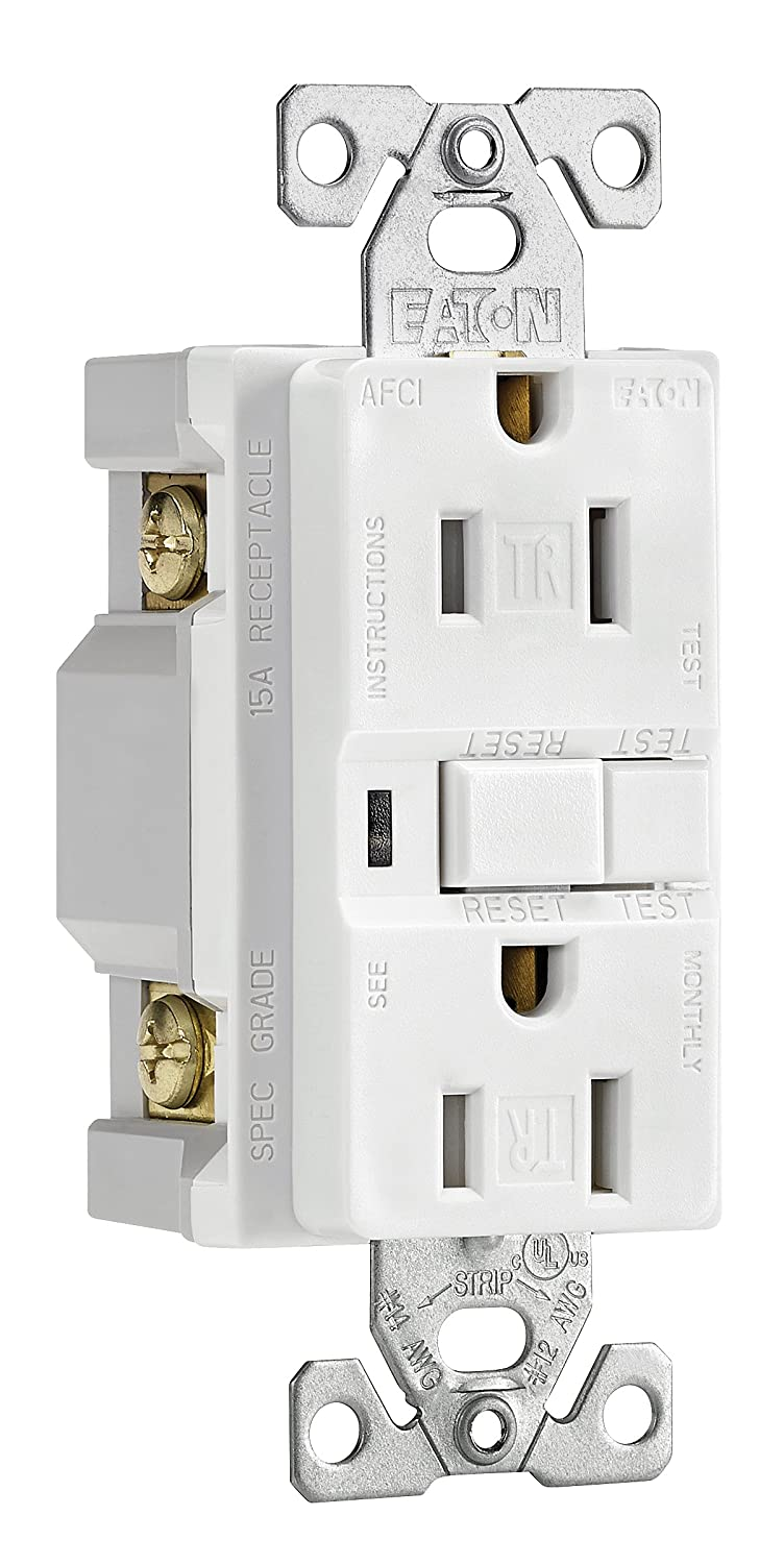 Eaton Trafci15w 15 Amp Tamper Resistant Afci Receptacle White Garbage Disposal Decorator Switch Finish