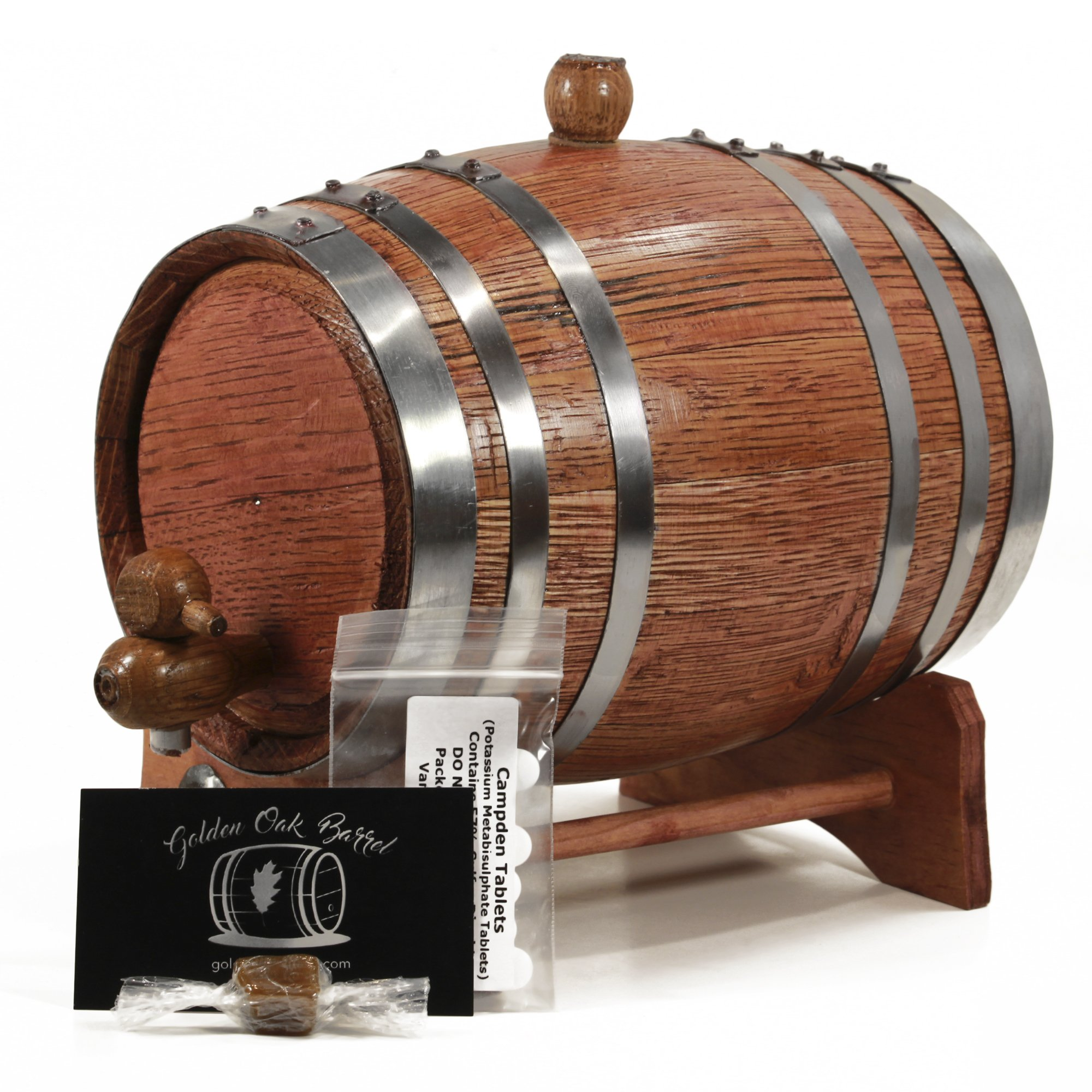 Handcrafted American Oak Aging Barrel | Age your own Whiskey, Bourbon, Tequila, More | Aging and Recipes Digital Guide included (CHERRY W/SILVER, 2 Liter)
