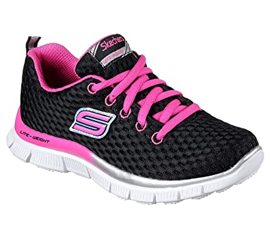 girls skechers black