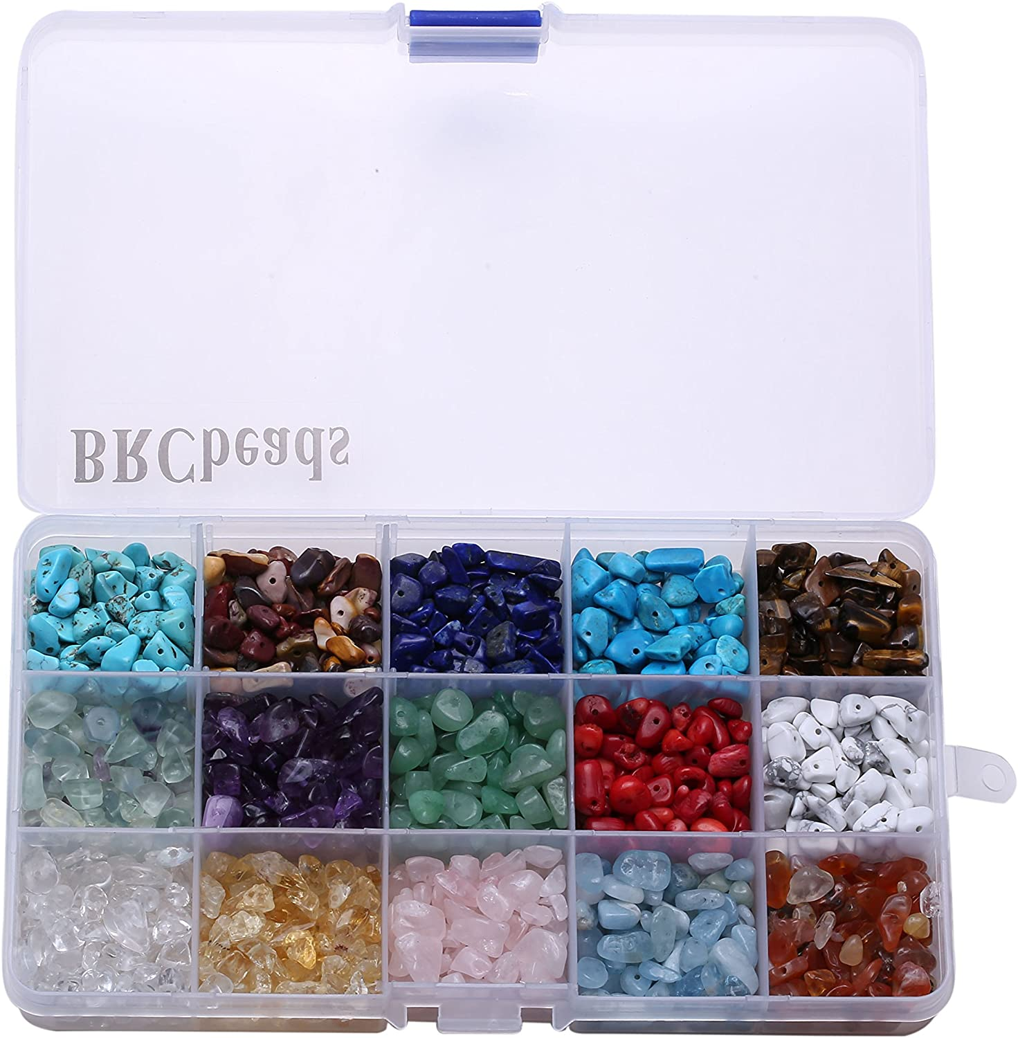 Gacuyi Natural Gemstones Beads Chakra Chip Stones Crushed Pieces Irregular Shaped Healing Drilled Loose Beads for Earring Bracelet Jewelry Making Home Decoration Alabaster Crystal Chips 1 Strand