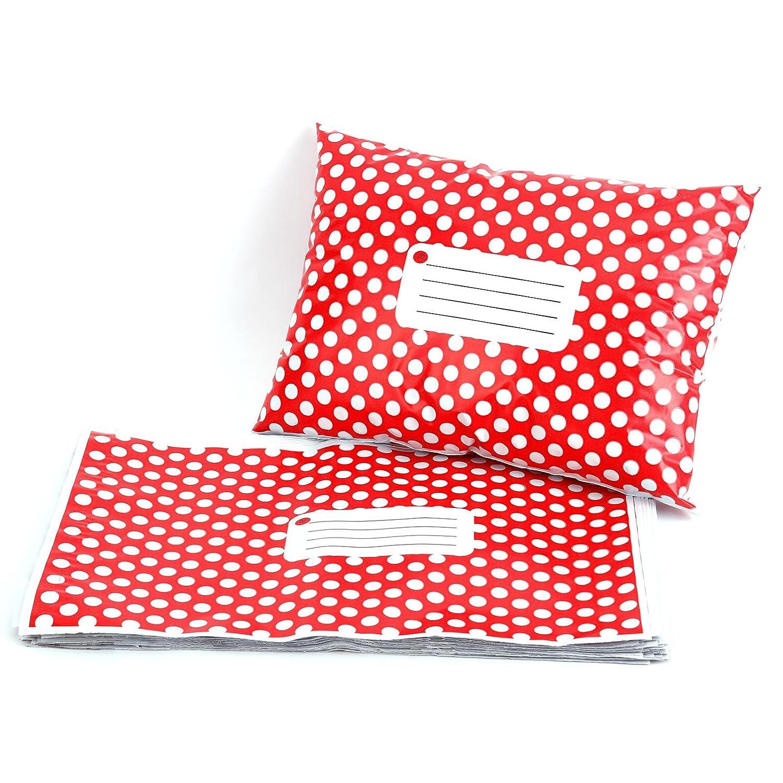 50pc Buste Per spedizioni Buste Sacchetti Blickdicht Red Polka Dots 150 X 230 mm Hamimelon