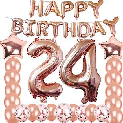24th Birthday Decorations Party Supplies Jumbo Rose Gold Foil Balloons For
