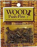 Moore Wood Head Push Pin, Warm Walnut, 20 Per Card (2W-20-WW)