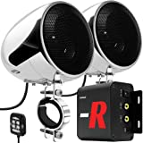 "GoHawk TN4-R Amplifier 4"" Full Range Waterproof Bluetooth Motorcycle Stereo Speakers 1 to 1.5 in. Handlebar Mount Audio Amp S"