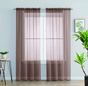 Jody Clarke 2PC Solid Sheer Panel Curtain Drape Long Fully Stitched for Wedding Quinceniera Party décor ( 2PC 54 X 95 Taupe )