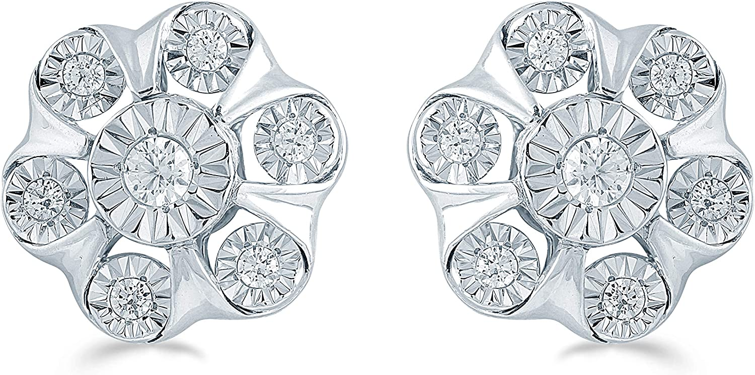 1//2 Cttw Diamond Cluster Earring Set In Sterling Silver