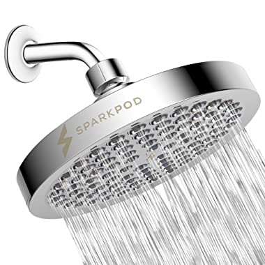 SparkPod Shower Head - High Pressure Rain - Luxury Modern Chrome Look - Easy Tool Free Installation - The Perfect Adjustable Replacement For Your Bathroom Shower Heads