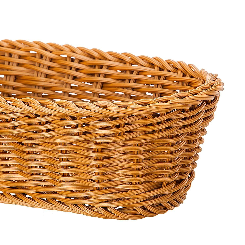 2 Set 14.5'' Poly-Wicker Bread Basket, Long Woven Tabletop Food Serving Basket, Honey Brown - Set of 2 by Make it fun (Image #3)