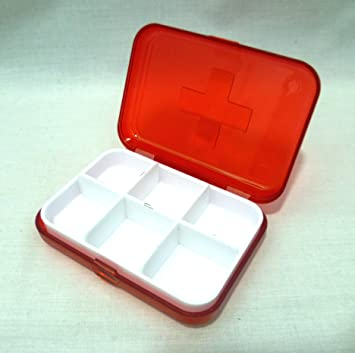 2 X Red 6 Compartment Medical Pill Boxes Amazoncouk Beauty