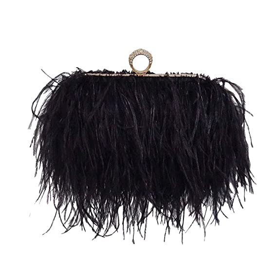 TOOKY Real Natural Ostrich Feather Clutch Shoulder Bag (Black)(Size  One  Size)  Amazon.co.uk  Clothing fe9114bca6794