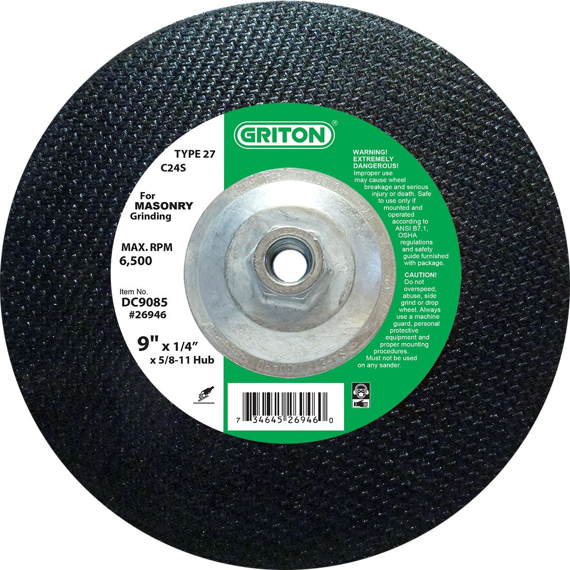 9 Diameter Griton DC9085 Type 27 Grinding Wheel Used on Masonry with Hub Pack of 10 6500 RPM Silicon Carbide