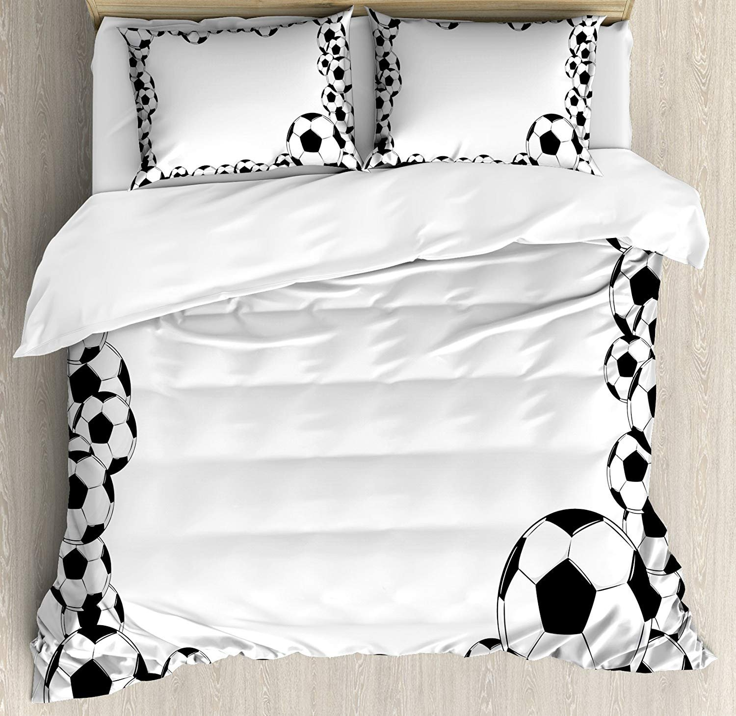 Full Size Soccer 3 PCS Duvet Cover Set, Monochrome Football Frame Pattern Abstract Illustration Playing Sports Game, Bedding Set Quilt Bedspread for Children/Teens/Adults/Kids, White Charcoal Grey