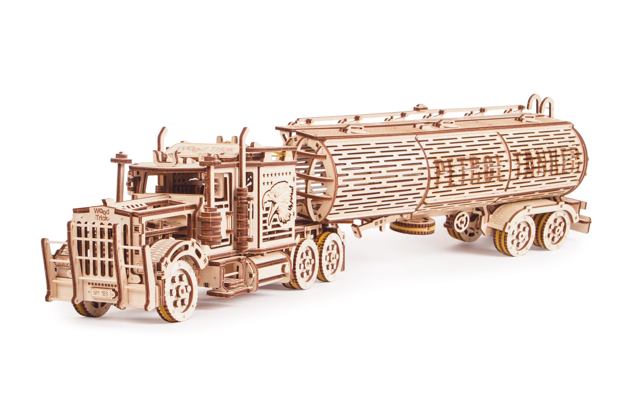 Wood Trick 3 in 1 Bundle Big Rig + Tank Trailer + Car Trailer Self-Propelled Mechanical Models 3D Wooden Puzzle DIY Toy… 4