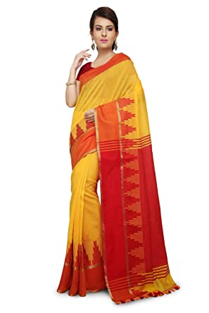 be00a2d8e8af72 Wooden Tant Yellow Handloom Cotton Silk Saree.  Amazon.in  Clothing ...