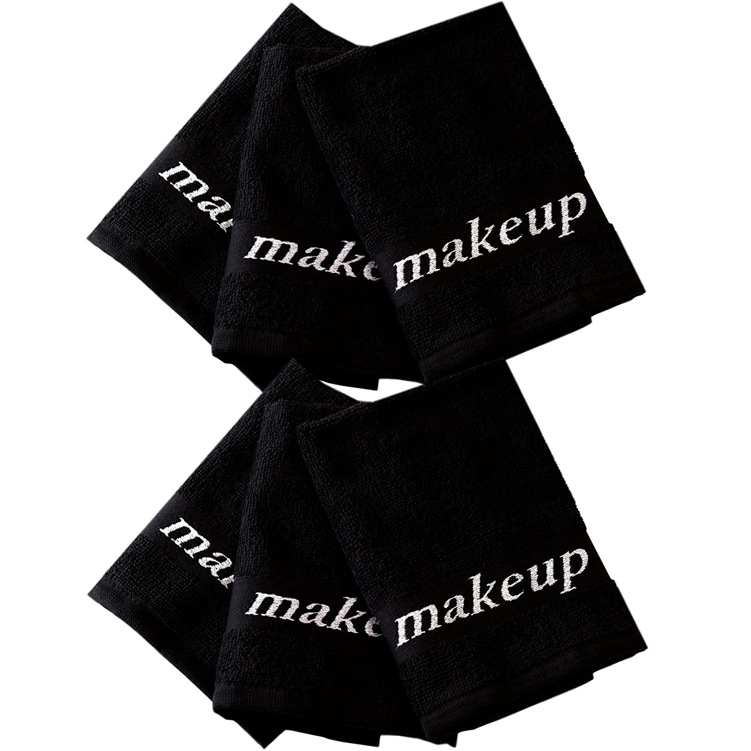 Home Bargains Plus 5852477 Make-Up Turkish Wash Cloth Set, Black, 6 Piece,