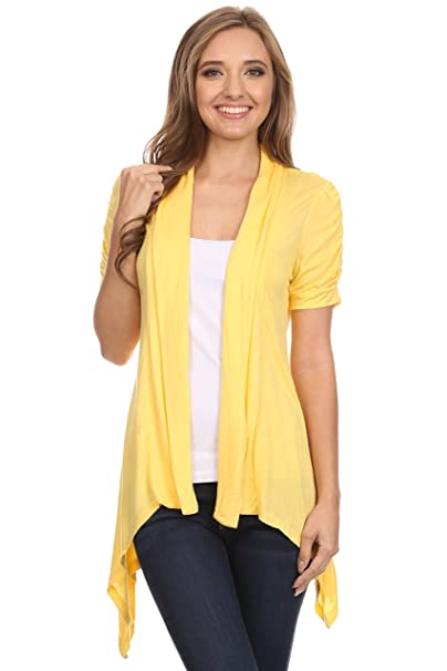 Short Sleeve Cardigan for Women Open Front Draped Flyaway Cardigan Sweater  Reg   Plus Yellow Small e0f140f23