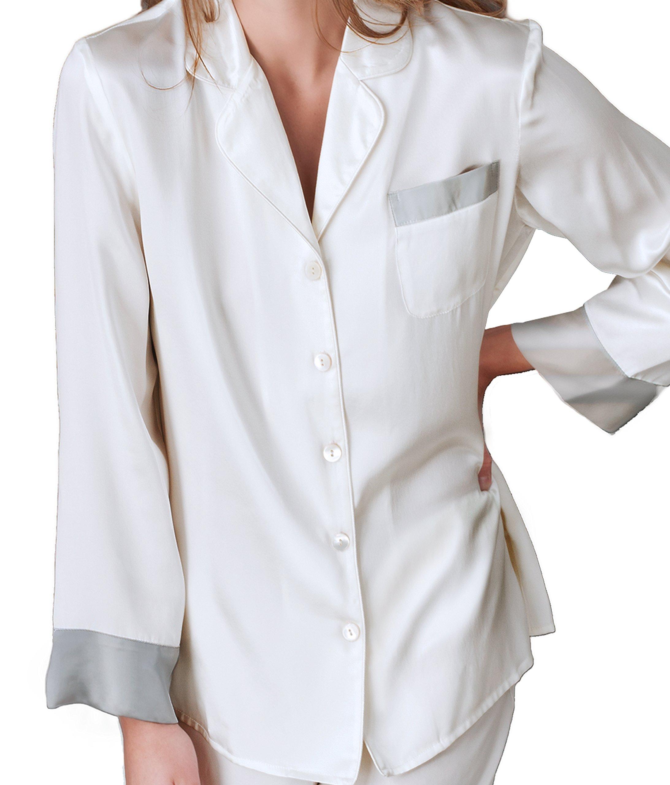 Julianna Rae Women's 100% Silk Pajama, Classic Fit, Evening Lounge, Alabaster, Petite, M by Julianna Rae (Image #2)