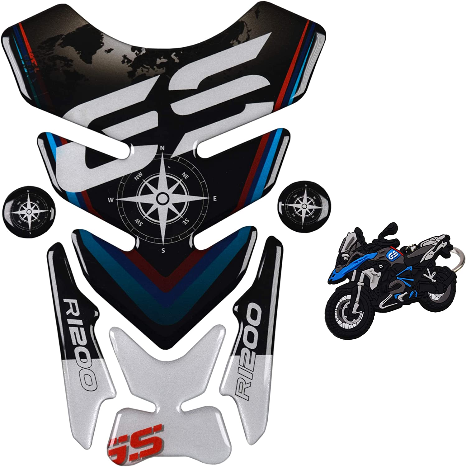 BMW R1200 GS Black Motorcycle Tank Pad Protector Sticker