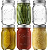Ball Regular Mouth Mason Jars (16 oz/Capacity) [6 Pack] with Airtight lids and Bands. For Canning, Fermenting, Pickling - Store & Decor - Microwave & Dishwasher Safe. Bundled With SEWANTA Jar Opener