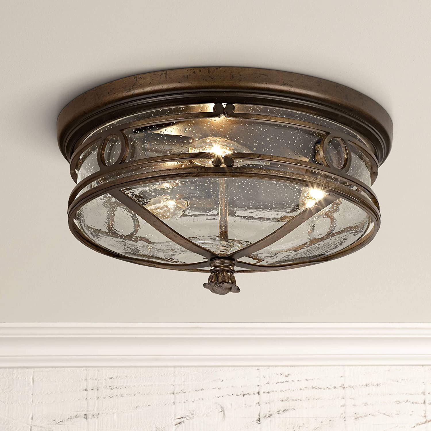 Beverly drive rustic outdoor ceiling light fixture bronze 14 flush mount clear seedy glass for exterior porch entryway patio deck lighting john
