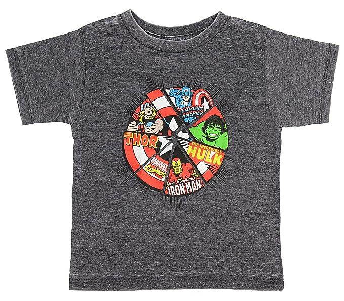 093c50c0e Marvel Comics The Avengers Superhero Power Shield Toddler Boys T-Shirt, 2T  Charcoal Grey