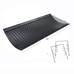 "Hisencn 27 X 13 1/4"" Aluminized Steel Ash Pan Replacement for Chargriller Charcoal 1224, 1324, 2121, 2222, 2727, 2828, 2929, Charbroil 17302056 Grill Grates Parts with 2pcs Fire Grate Hanger"