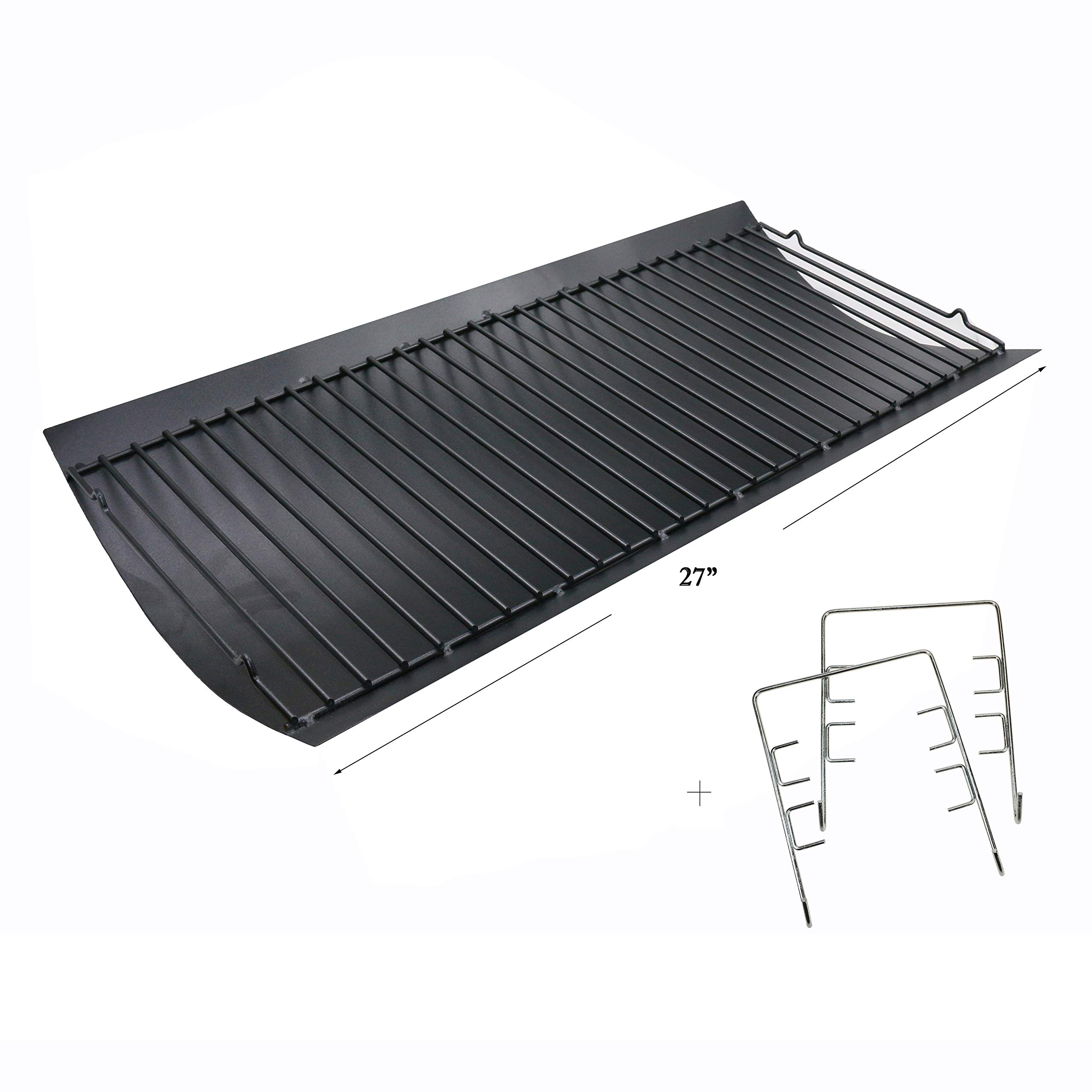 Hisencn 27 inch Ash Pan Repair Parts for Chargriller 1224, 1324, 2121, 2222, 2727, 2828, 2929 Charcoal Grills, Charbroil 17302056, 27'' Drip Pan Grates Replacement Part with 2pcs Fire Grate Hanger