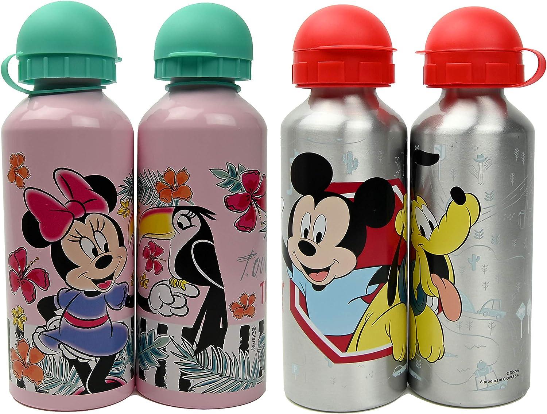 ML Pack de 2 Botellas de Agua de Aluminio Disney de Mickey y Minnie, cantimplora térmica a Prueba de Fugas sin BPA para Levar a la Escuela y Deportes el Termo 500ml para niños y niñas (Rosa)
