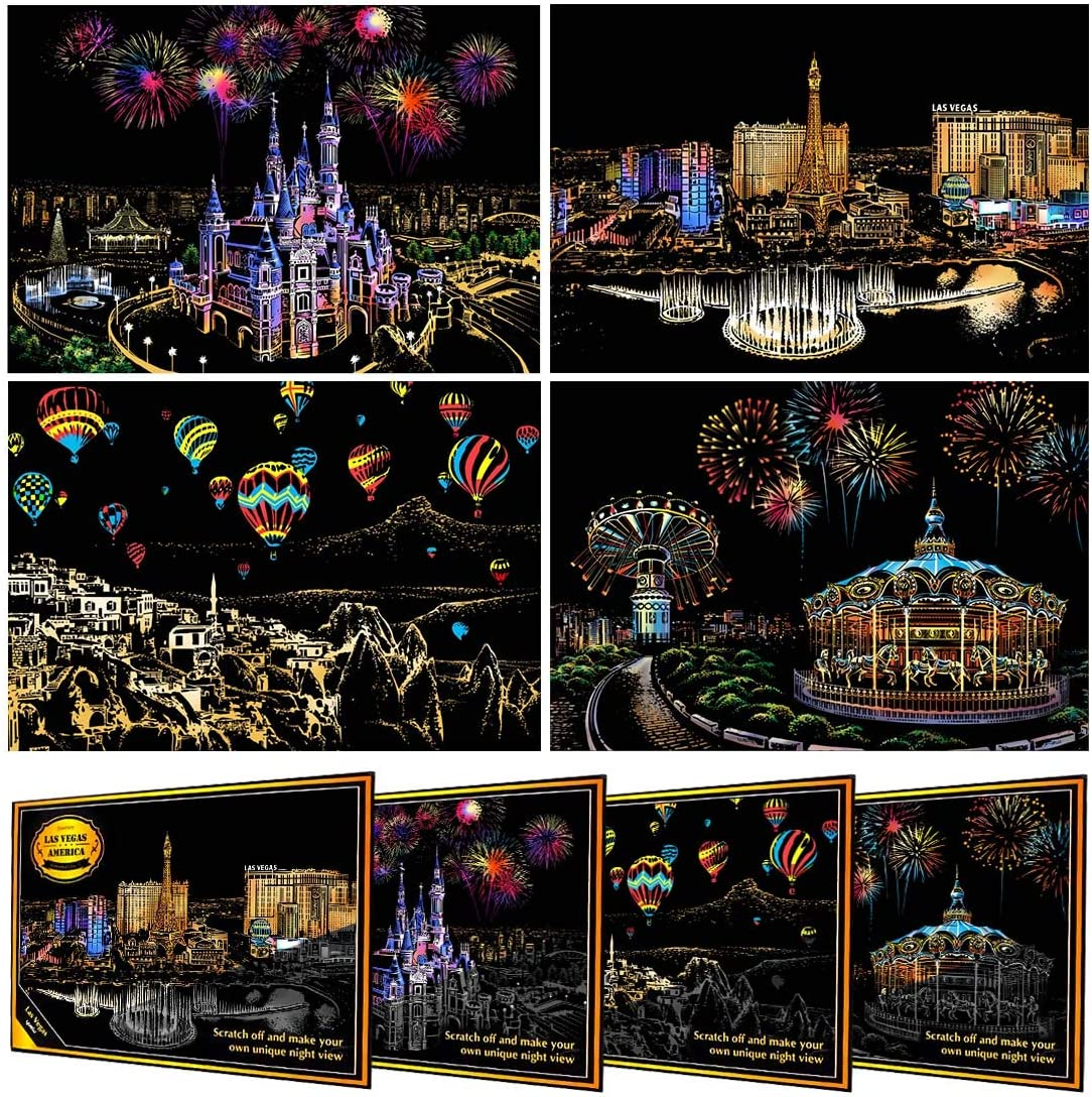 AFASOES 8pcs Scratch Art Paper Rainbow Scratchboard Night View Art Craft Scratch for Kids /& Adults DIY Painting Sketch Paper Mini Postcard Scratch Painting Creative Gift with 4 Tools City Series