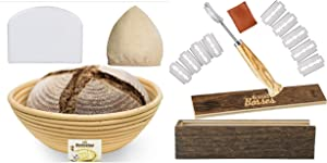 Bread Bosses 9 Inch Banneton Proofing Basket and Bread Bakers Lame Slashing Tool - Great as a Gift