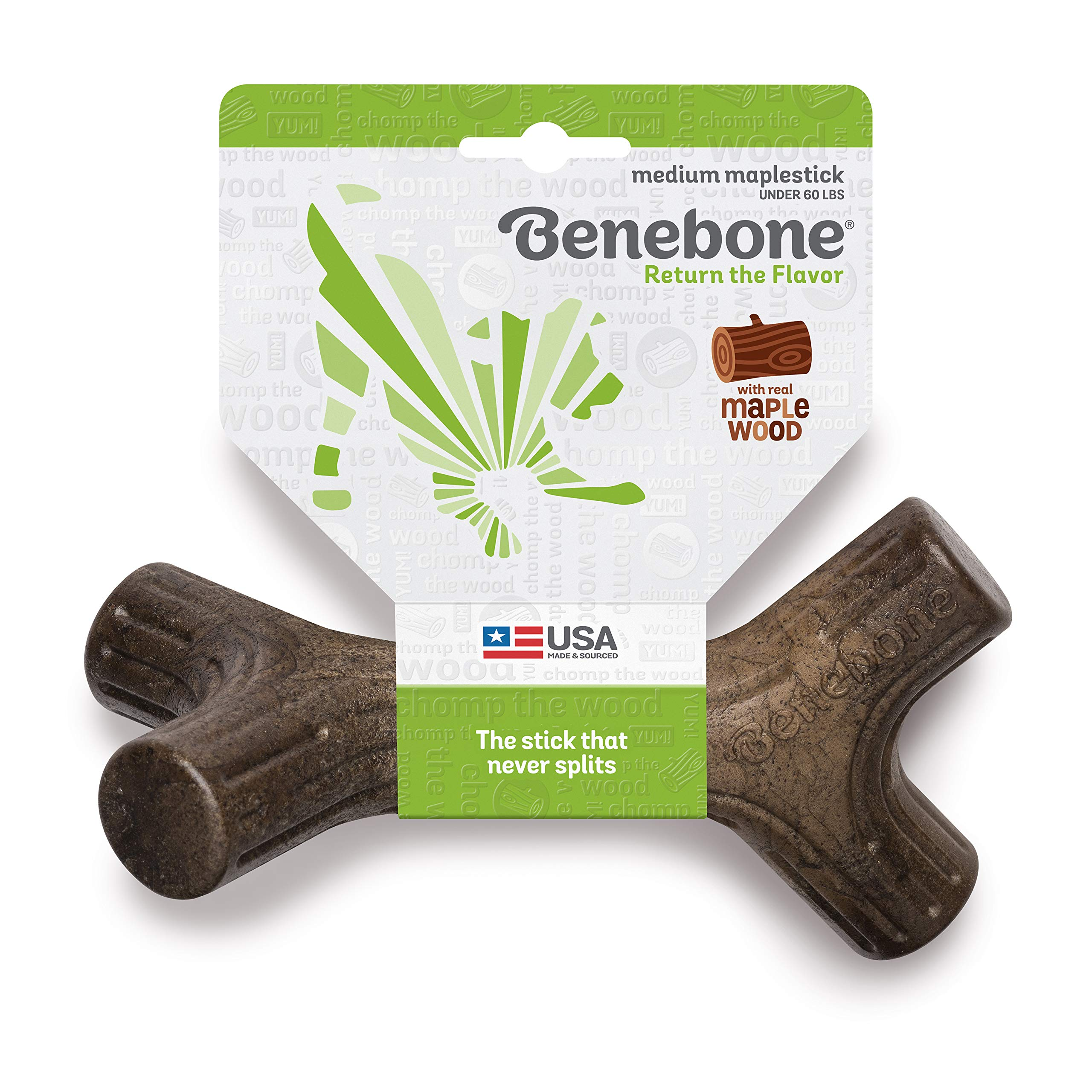 Benebone Maplestick Durable Dog Stick Chew Toy, Made in USA, REAL Maple Wood Flavor, Medium by Benebone